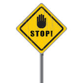 Stop scratched road sign. — Stock Vector