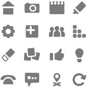 Set of simple gray icons for design. — Stock Vector