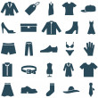 Set vector icons clothes and accessories. — Stock Vector