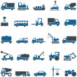 Stock Vector: Vector icons of construction and trucking industry.