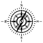 Compass with wind rose. — Stock Vector