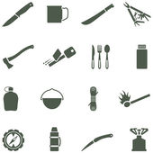 Set of vector icons with camping equipment and accessories. — Stock Vector
