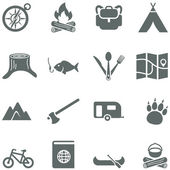 Set of vector icons for tourism, travel and camping. — Stock Vector