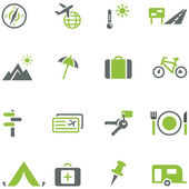 Collection of icons for travel, tourism and active recreation. — Stock Vector