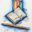 Education school concept with books and pencil, watercolor with - Stock Photo