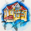 Fairy house with flowered balcony, watercolor with slate-pencil - Stock Photo