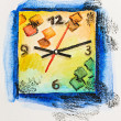 Modern square clock time concept, watercolor with slate-pencil p - Stock Photo
