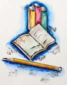 Education school concept with books and pencil, watercolor with — Stock Photo