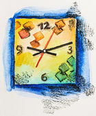 Modern square clock time concept, watercolor with slate-pencil p — Stock Photo