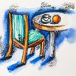 Chair and table with coffee cup and orange, watercolor with slat - Stock Photo