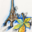 Eiffel Tower with chestnut leaf, watercolor with slate-pencil pa - Stock Photo