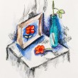 Still life with dead flower, vase and picture, watercolor with s - Stock Photo