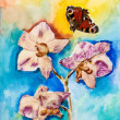 Orchid flower with butterfly, applique watercolor painting - Stock Photo