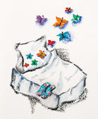 Concepto buenos sueños con cama y mariposas, acuarelas con sl — Foto de Stock