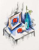 ölü çiçek, vazo ve resmi, s ile suluboya ile natürmort — Stok fotoğraf