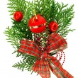 Christmas red balls and ribbon arrangement on green thuja branch — 图库照片