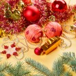 New Year decorations still life on golden background - Stock Photo