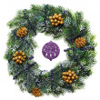 Decorated Christmas wreath with cones and beads, isolated on whi — Stock Photo