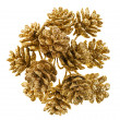 Golden Christmas fir cones, isolated on white - Stock Photo