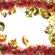 Christmas decoration frame with artificial tinsel — 图库照片