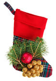 Christmas checkered stocking with fir branch, isolated on white — Stock Photo