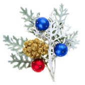 Red and blue Christmas balls on branch, isolated on white — Stock Photo