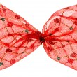 Stock Photo: Red Christmas spotted bow, isolated on white