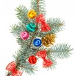 Multicolored Christmas balls, bows and cone on spruce branch, is — Stock fotografie