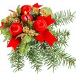 Christmas balls, red ribbons and candle on pine branch, isolated — Stock Photo