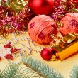 New Year decorations still life on golden background — Stok fotoğraf
