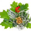 New Year composition with ilex, fir, berries and beads, isolated - Stock Photo