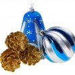 Blue christmas decoration ball, bell and golden fircones, isolat — Stock Photo