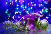 New Year decorations with fancy box on circles bokeh background — Stock Photo