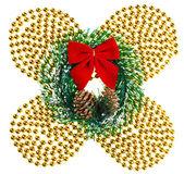 クリスマスは、クリスマスの花輪, 円錐形そして赤い弓とガーランドをビーズします。 — ストック写真