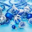 Stock Photo: Christmas decorations still life in blue tones