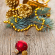 Stock Photo: Christmas decorations on wooden background