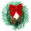 Christmas wreath with cones and red bow, isolated on white — Stock Photo