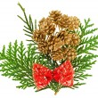 Christmas red bow and fir cones arrangement on green thuja branc — Stock Photo