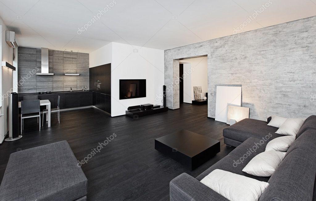 Modernen minimalismus stil wohnzimmer interieur in schwarz und wei t nen stockfoto - Moderne wohnzimmer schwarz weiss ...