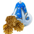 Blue christmas decoration bell and golden fircones, isolated on — Stock Photo #14426527