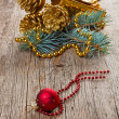 Christmas decorations on wooden background — Stock Photo #15311467