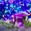 Christmas  decorations with fancy box on circles bokeh backgroun — Stock Photo