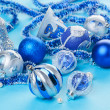 Christmas decorations still life in blue tones — Stock Photo