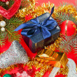 Foto Stock: Many different Christmas decorations on red background