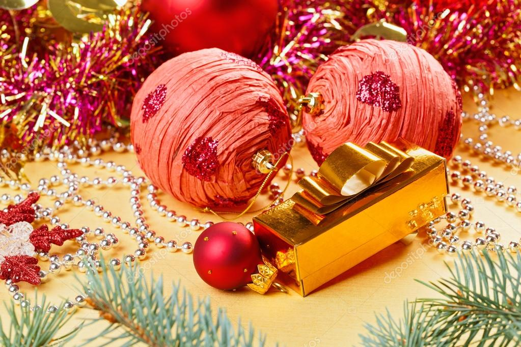 Christmas balls and decorations on golden background  Stock Photo #15311549