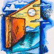 Abstract open door with light, watercolor with slate-pencil pain - Stock Photo