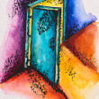 Abstract open door with light, watercolor with slate-pencil pain — Stock Photo
