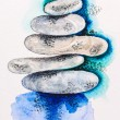 Pebble stones heap harmony symbol, watercolor with slate-pencil - Stock Photo