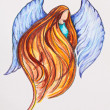 Redhead Angel, watercolor with slate-pencil painting - Stock Photo