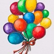 Multicolored celebration balloons, watercolor with slate-pencil - Foto Stock